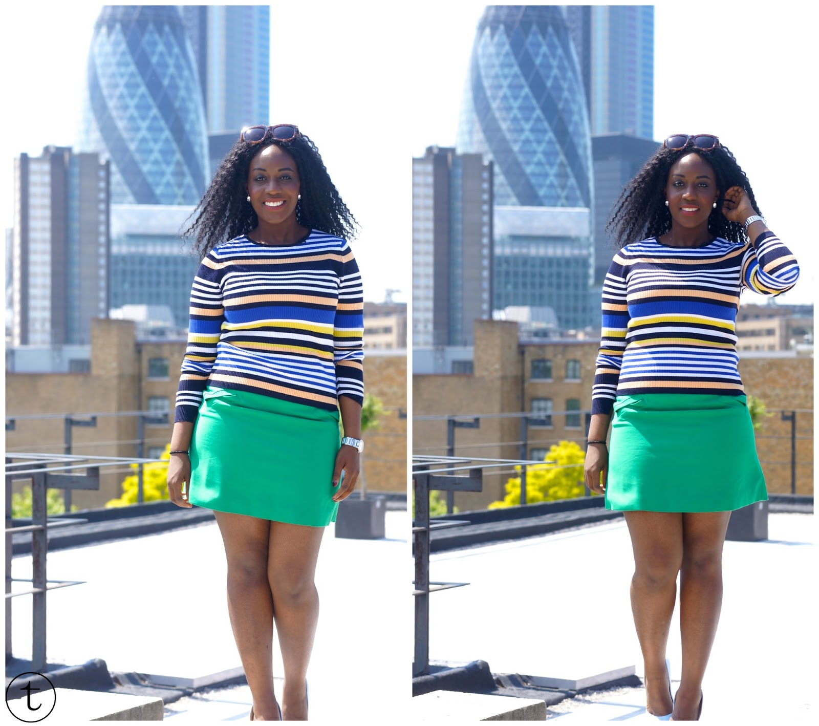 outfit post wearing jeans jacket and green skirt from zara the gherkin