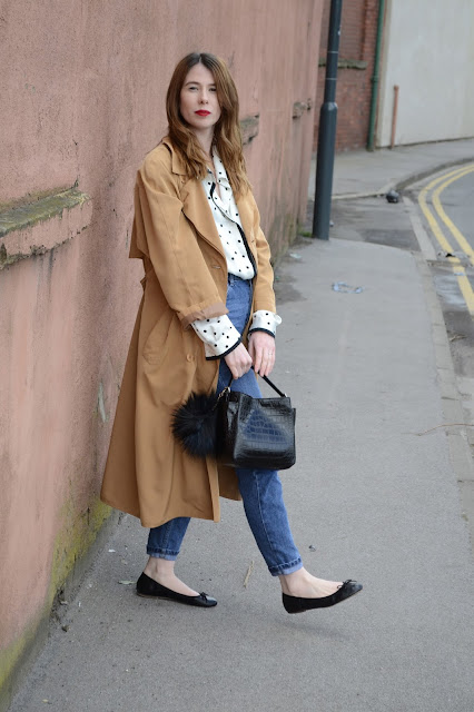 Parisian street style, Simple black and white silk shirt from a Charity shop, Vintage trench, Topshop high waisted mom jeans, Black Ballet pumps, Zara Croc effect black bag.