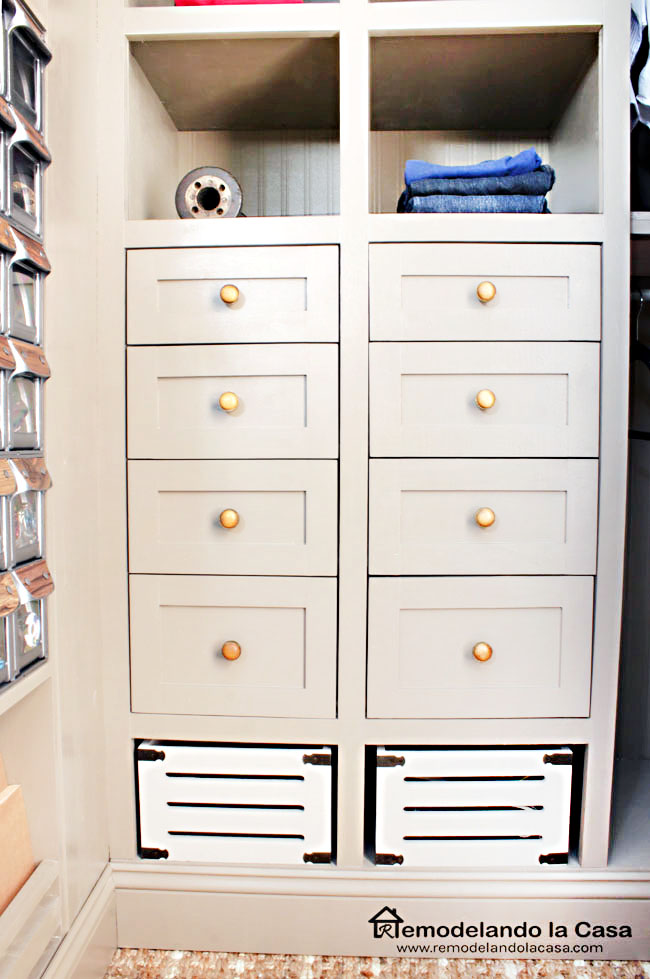 industrial closet in taupe color
