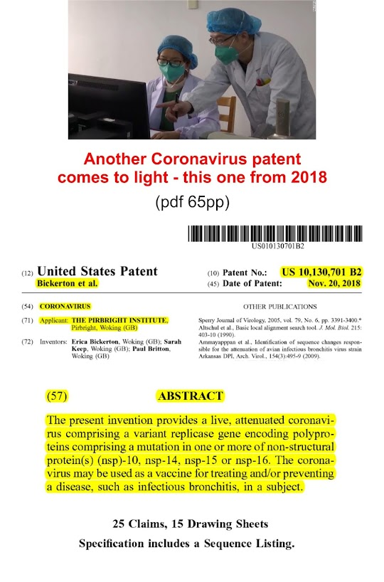https://www.fbcoverup.com/docs/library/2018-11-20-US-Pat-No-10130701-CORONAVIRUS-Assignee-THE-PIRBRIGHT-INSTUTUTE-Woking-Great-Britain-funded-by-Wellcomme-Trust-and-Gates-Foundation-USPTO-Nov-20-2018.pdf