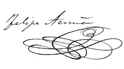 Firma de Felipe de Acuña cuando era estudiante de Leyes