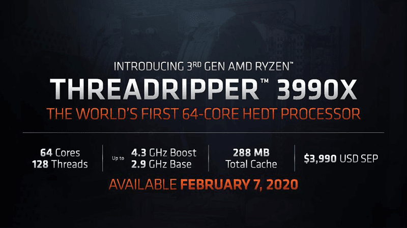 Here are the specs for the Threadripper 3990X