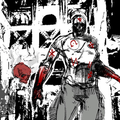 drawn man with symbols on body, red skull beside him