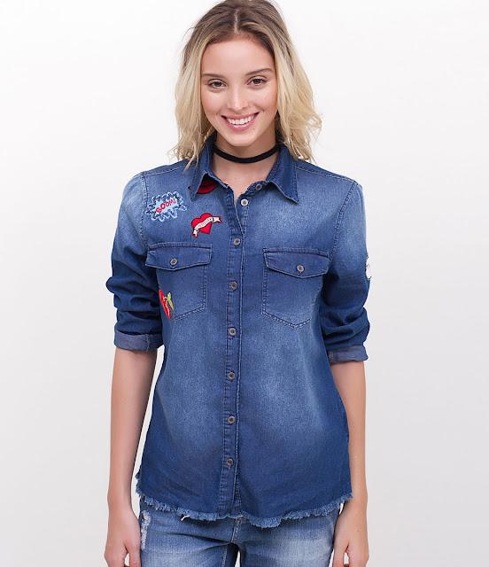 Jaqueta Jeans com Patchs Lojas Renner