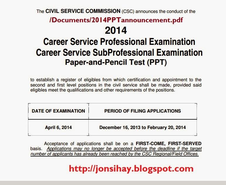 Civil Service Exam Dates