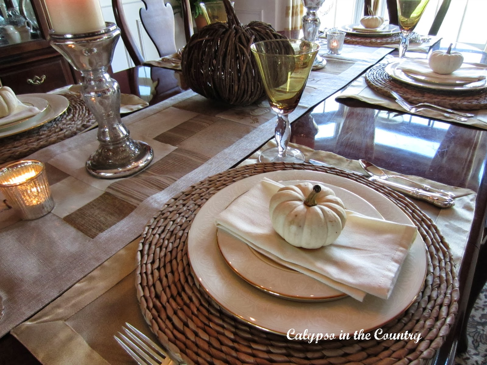 Fall Table Setting with China and White Pumpkins