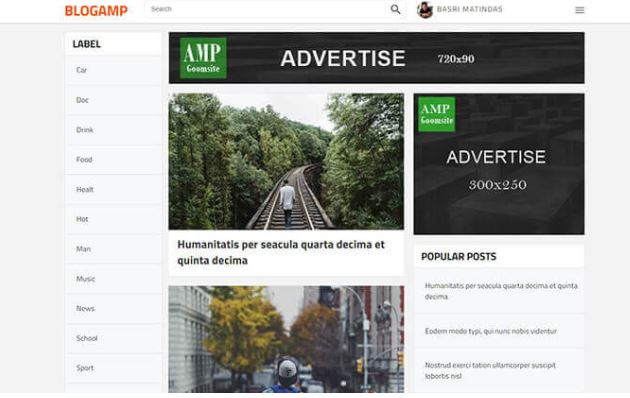 Giao diện blogger BlogAMP Blogger Template