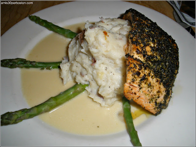 Herb Crusted Filet of Salmon: Fresh Salmon with a Delicious Lemon Sauce, Asparagus and Mashed Potatoes