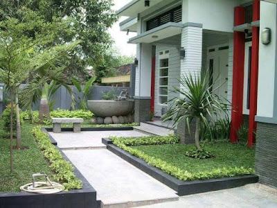 model taman halaman depan rumah yang indah dan cantik
