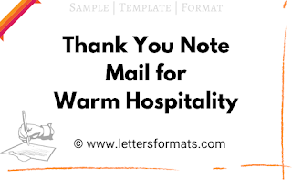 thanks letter for warm welcome