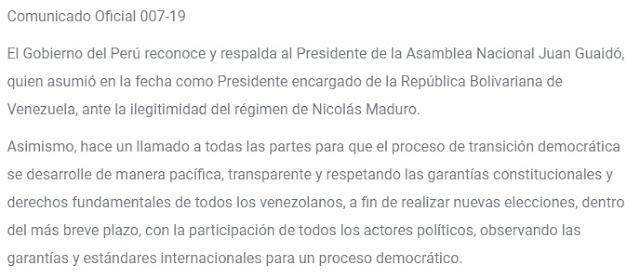 Gobierno del Perú reconoce a Juan Guaidó como Presidente encargado de la República Bolivariana de Venezuela