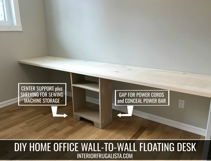 A space-saving wall-to-wall DIY wall mounted home office floating desk with two workstations. Perfect for small spaces and budget-friendly home office desk idea with step-by-step instructions.
