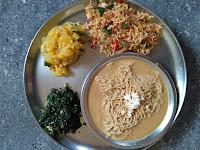 Hot & Sweet Sorghum Stringhopper  (Cholam Idiyappam),  Coconut Milk, Ashgourd kootu,  Ponnaanganni Poriyal