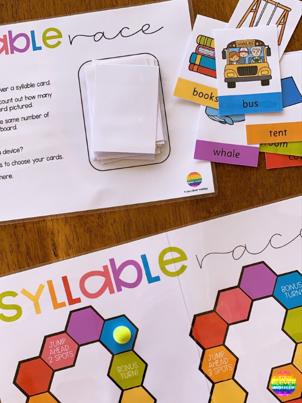 Syllable Race Game with BOOM Cards - Use this syllable board game to allow children to practice identifying and counting syllables while playing a fun interactive game they can play in class in small groups and at home with family for distance learning | you clever monkey