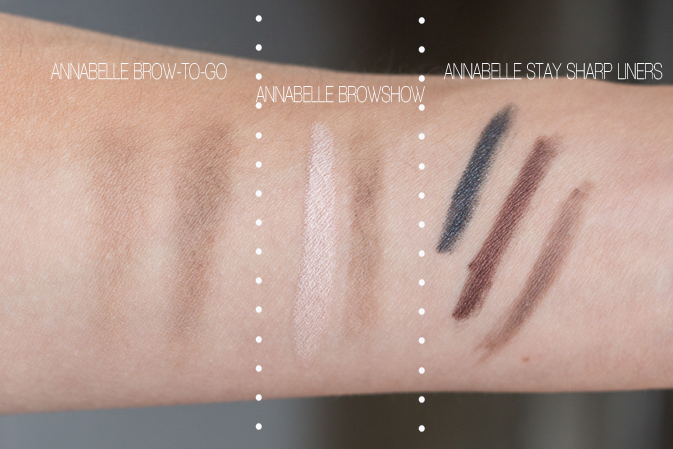 Annabelle Brow To Go Kit, Brow Show, and Stay Sharp Liners Swatched