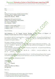 format of intimation letter to stock exchange