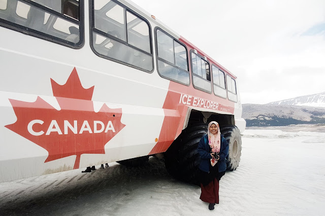 Farah with Ice Explorer at the Athabasca Glacier