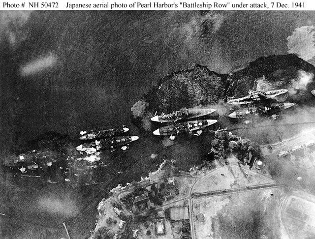 Mitsuo Fuchida photo of the hits on Battleship Row in Pearl Harbor on 7 December 1941 worldwartwo.filminspector.com