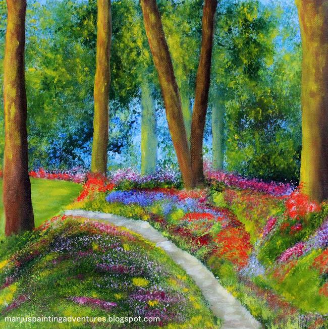 original - painting - garden - path - in - acrylics