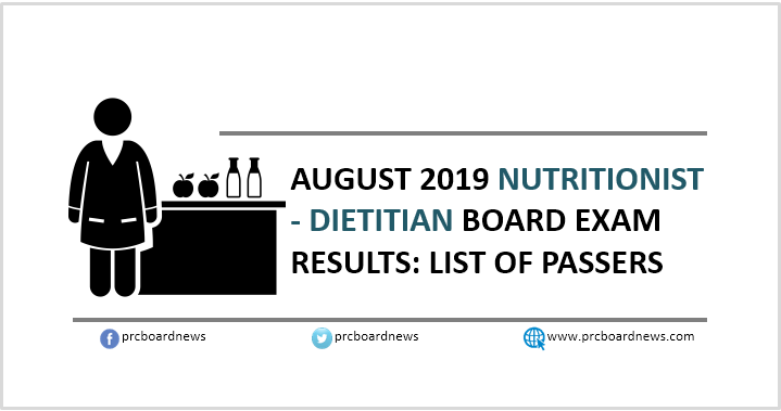 RESULT: August 2019 Nutritionist Dietitian board exam list of passers