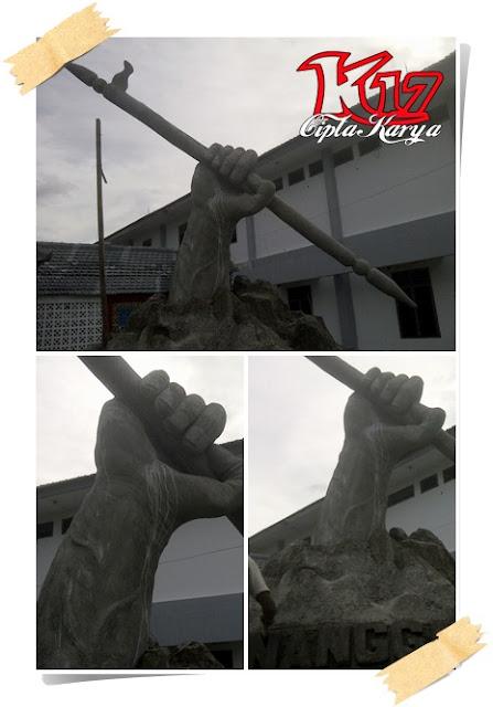 Pembuatan Patung Tangan kanan memegang Tombak Nanggala