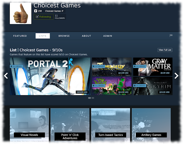 Screenshot of Choicest Games Steam Curator Page
