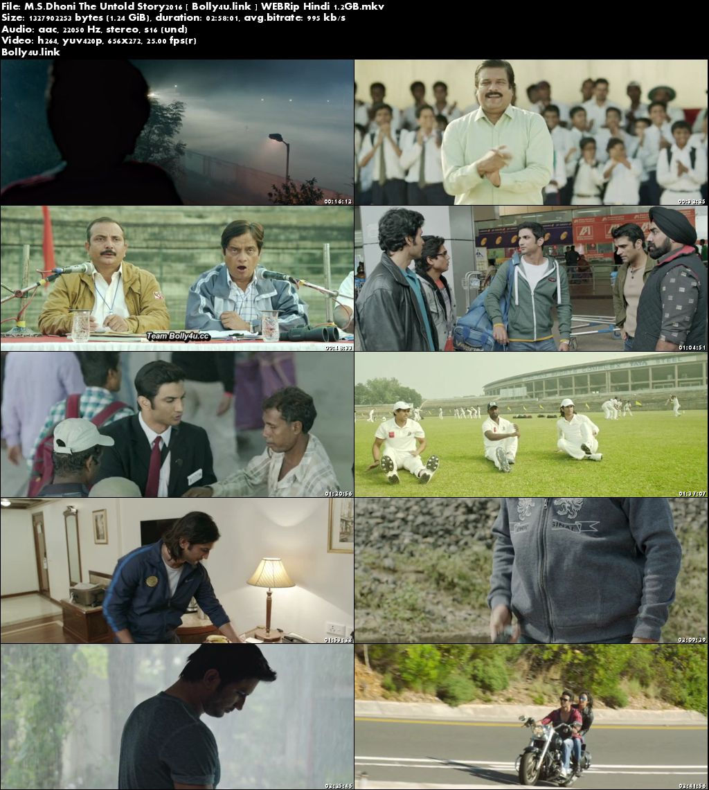 M S Dhoni The Untold Story2016 WEBRip 500MB Hindi 480p Download