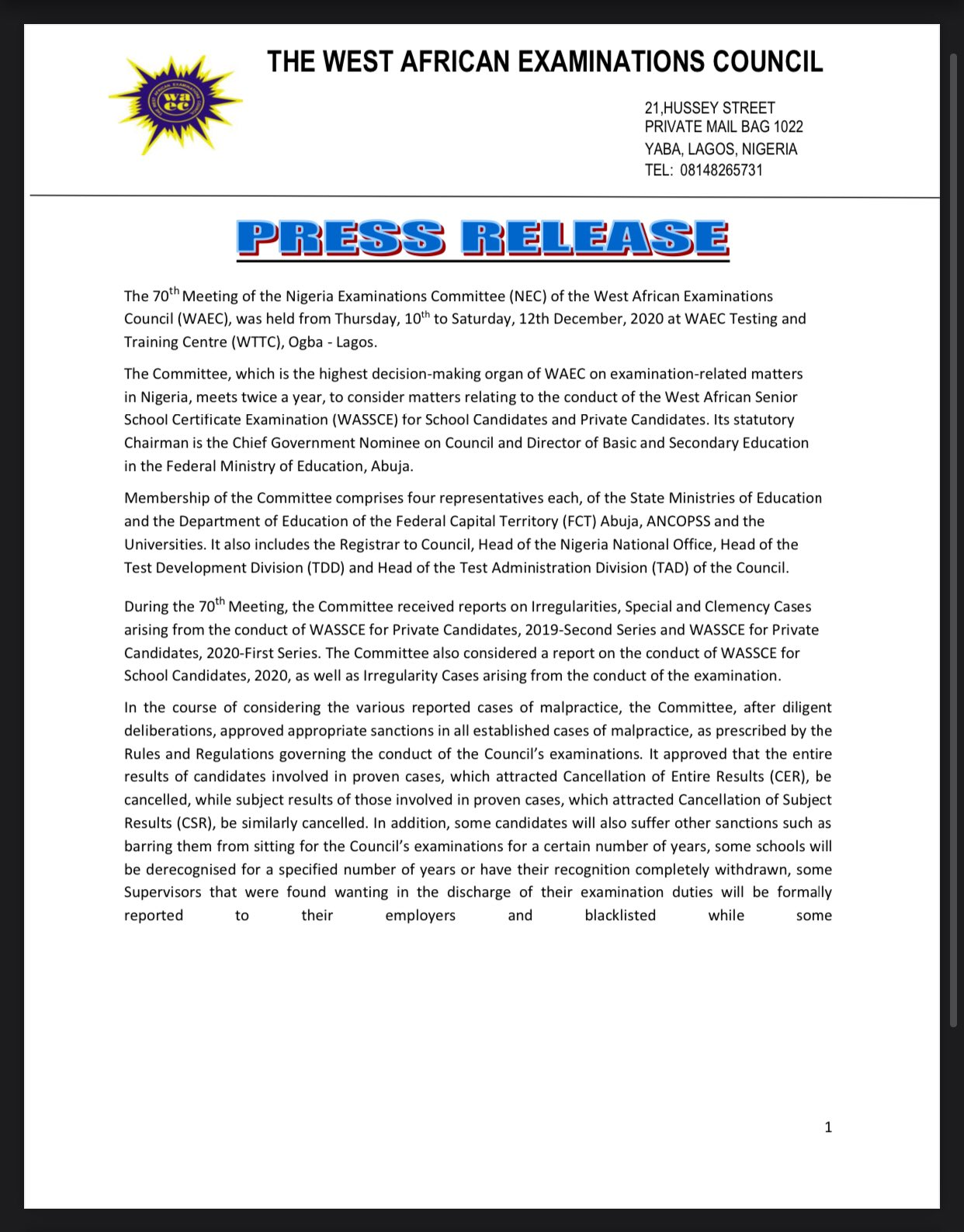 WAEC 70th NEC Meeting Outcome & Press Release 2020