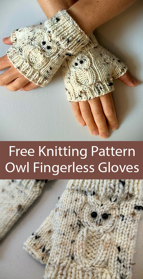 Owl Fingerless Gloves - Free Knitting Pattern