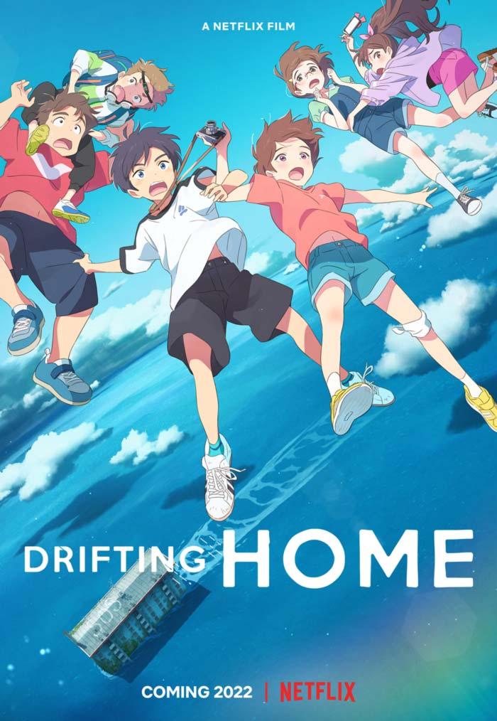 Drifting Home (Ame o Tsugeru Hyoryu Danchi) anime film - Studio Colorido - Netflix - poster