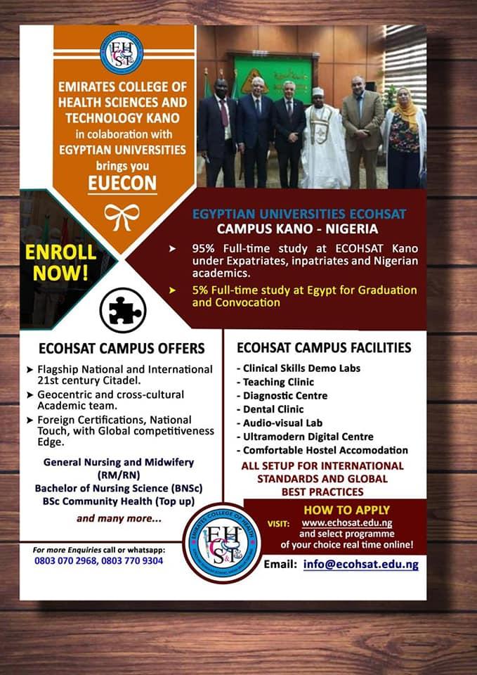 ECOHSAT Admission Form 2020/2021 | ND, HND, Diploma & Cert.