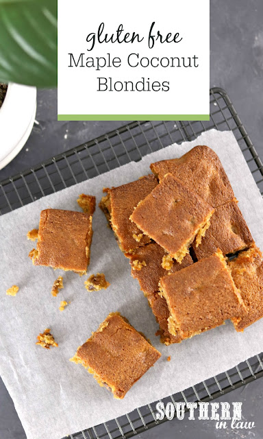 Easy Maple Coconut Blondies Recipe - gluten free, grain free, paleo, egg free, vegan - healthy dessert recipes