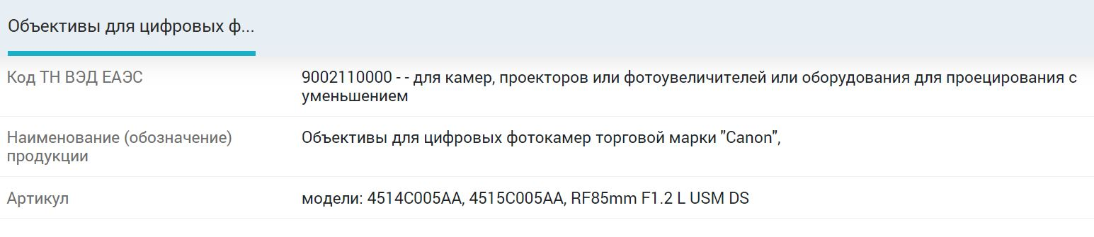 Информация о регистрации объективов Canon в реестре таможенного союза