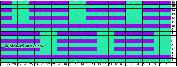 Free knitting pattern + chart. Wave and Box sitch.