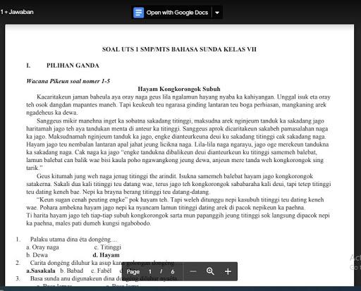 Soal Pts Bahasa Sunda Kelas 7 Sem 1 Kurikulum 2013 Jawaban Soal Pelajaran