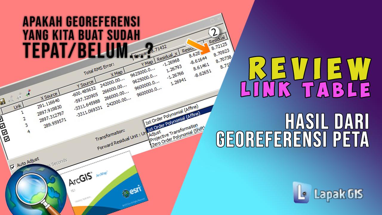 Review Link Table Hasil Georeferensi pada Arcgis