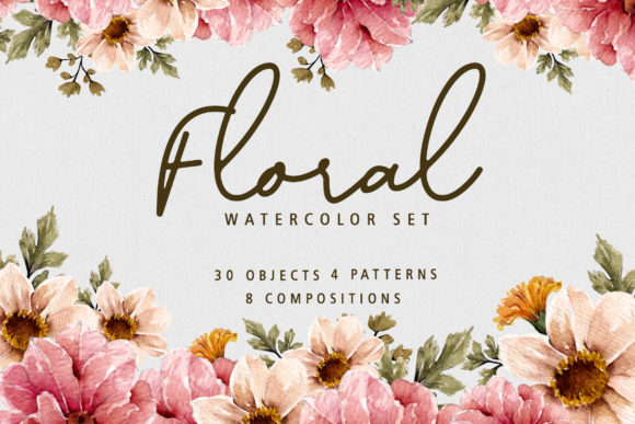 Floral Botanical Watercolor Set