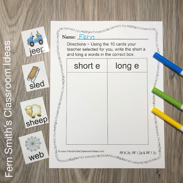Short Vowels Sort and Long Vowels Sort with Vowel Activities Resource Bundle Perfect for Kindergarten, First, & Second Grade #FernSmithsClassroomIdeas