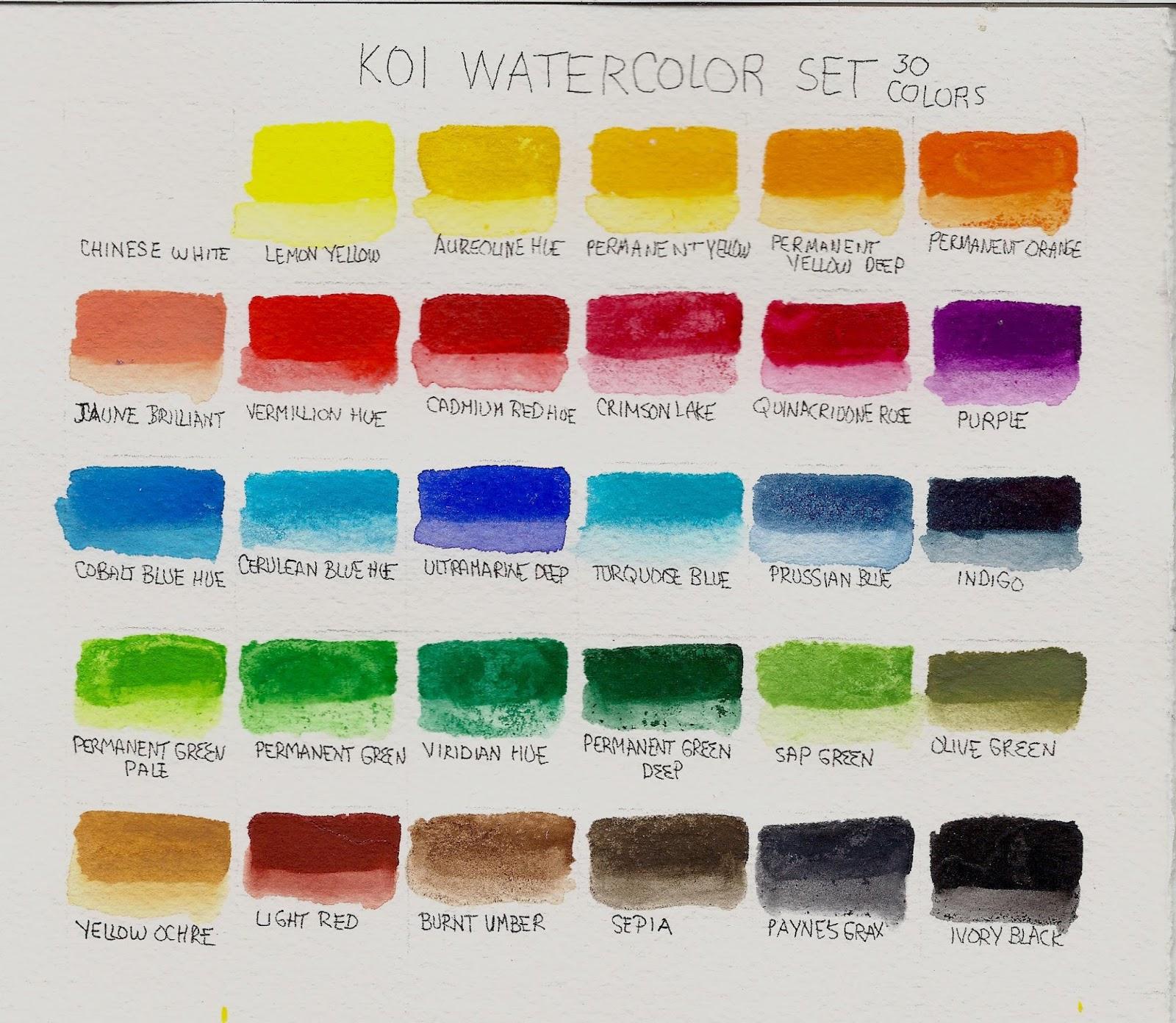 Folk art color chart acrylic paint - 30 Color Koi Watercolor Pocket Field Sketch Box Review Sakuraofamerica Koi Watercolor