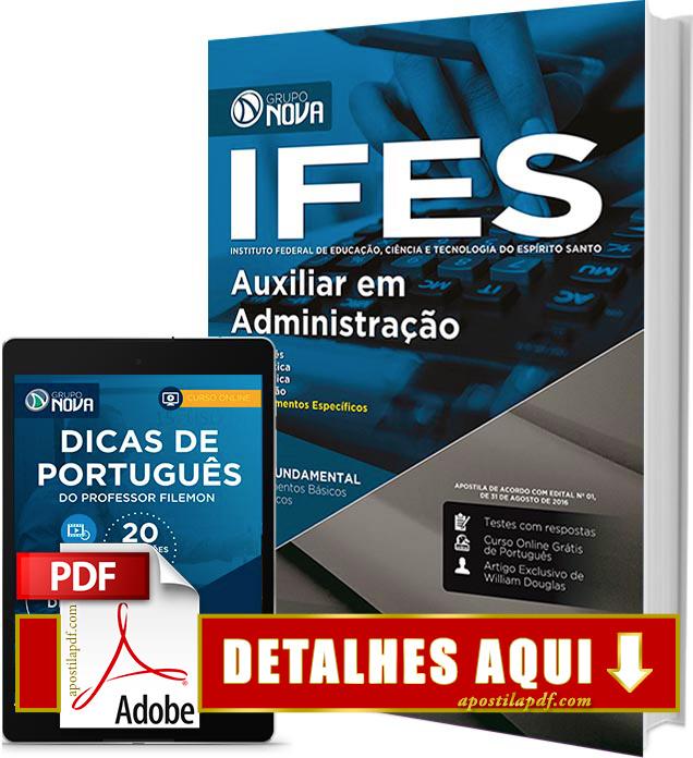 Apostila IFES 2016 Auxiliar em Administração Impressa