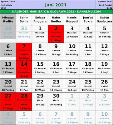 Kalender hari baik juni 2021
