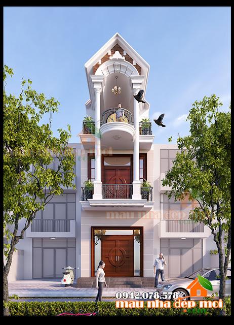 Ấn tượng mẫu nhà đẹp 3 tầng mặt tiền 4m tân cổ điển thanh thoát trong diện tích hạn hẹp ở thành phố