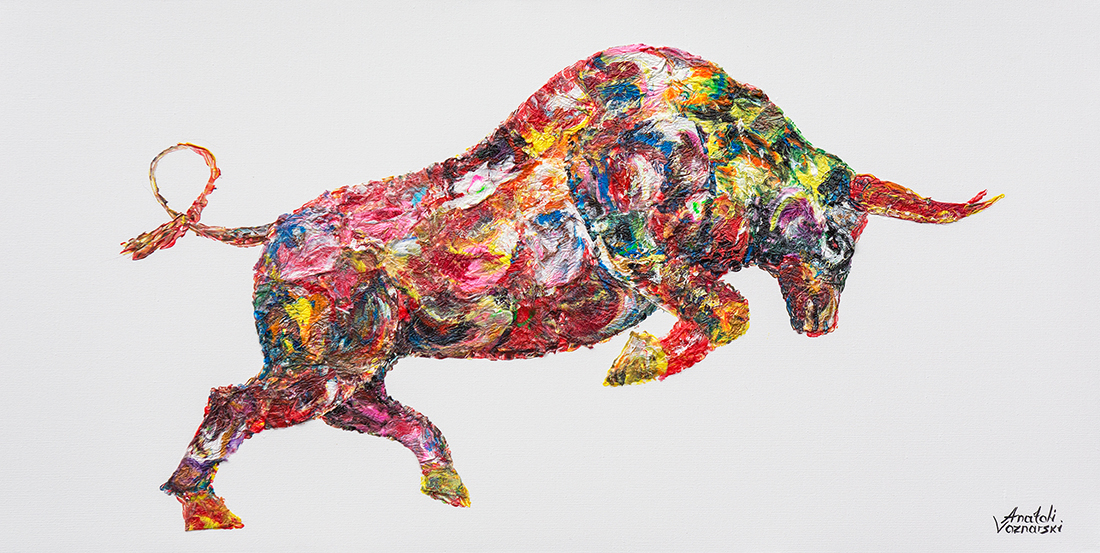 bull painting, bull acrylic, bull unique texture, thick layers bull, abstract bull, bull voznarski, mixed bull, bull on canvas, bull pop art, bull wall art, beautiful bull
