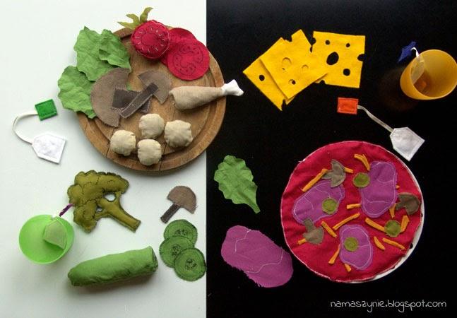 Kuchenne, Kreatywne zabawki DIY, Jedzenie, do zabawy, z filcu, uszyte, brokuły, pizza, jajko, kanapka, herbata, DIY, fartuch, fartuszek,
