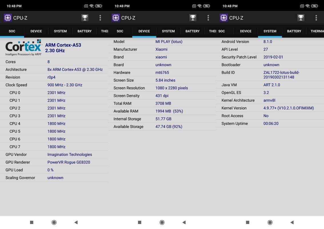 CPU-Z Xiaomi Mi Play