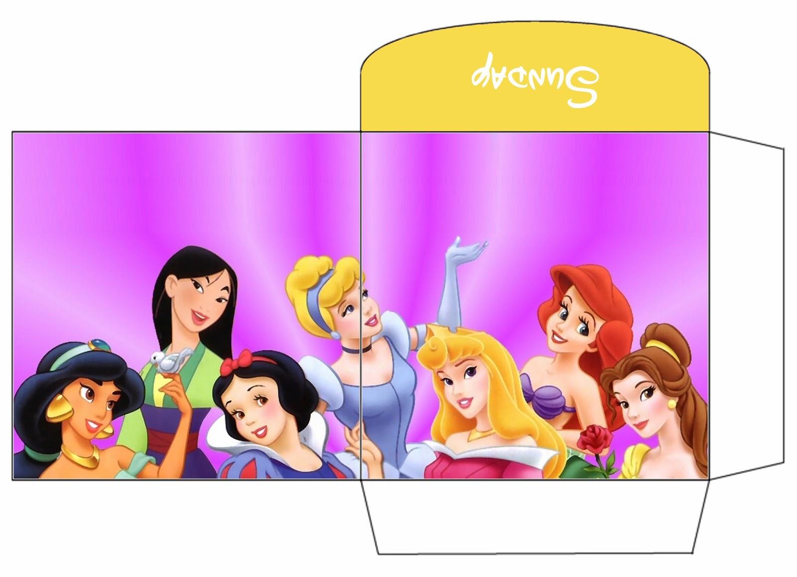 Princesas Disney: Sobre para Imprimir Gratis.