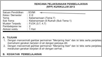 RPP 1 lembar PJOK SD Kelas 2 Tema 7 Revisi 2020