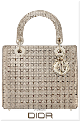 ♦Dior Lady Dior champagne metallic top handle calfskin bag with micro-canage motif and classic Dior charms in gold #dior #bags #ladydior #brilliantluxury