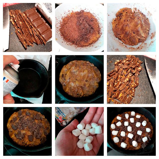 Receta de galleta de chocolate y nubes en sartén: el montaje