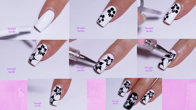 DRAG MARBLE BLACK & WHITE FLOWERS NAIL ART TUTORIAL - Moonlight Nail Art